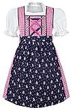 Coala Mädchen Kinderdirndl | 3-teiliges Set | mit Dirndl-Bluse und Dirndl-Schürze | pink blau, pink/blau, 74/80