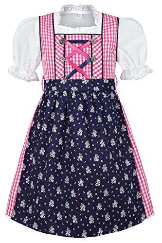 Mädchen Coala Kinderdirndl | 3-teiliges Set | mit Dirndl-Bluse und Dirndl-Schürze | pink blau, pink/blau, 110/116