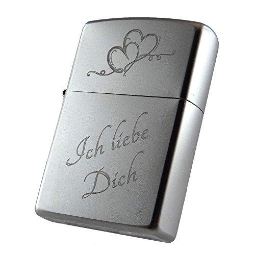 """Zippo Benzinfeuerzeug\""""Ich liebe Dich\"""" + Herz + kostenlose Gravur auf der Rückseite"""