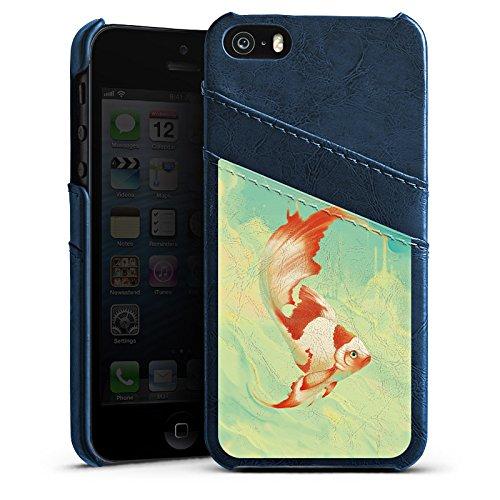 Apple iPhone 4 Housse Étui Silicone Coque Protection Poisson rouge Eau Water Étui en cuir bleu marine