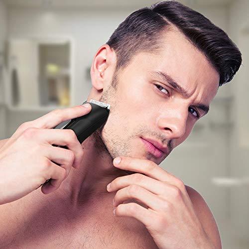 Recortador de Barba -  Liberex Cortapelos Silencioso,  Máquina Profesional de Cortar Pelo con Peine de 9 Posiciones para Cabello Bigote Vellos Facial,  Funciona con Pilas