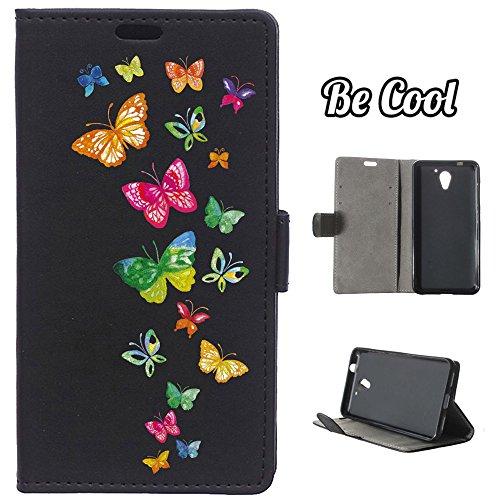 BeCool® - Schutzhülle Handytasche im Bookstyle für ZTE Blade A510, schützt Ihr Smartphone da es sich perfekt anpasst, mit Standfunktion, Fächer für Karten und Geldscheine und, natürlich, unser exklusives Design. Bunte Schmetterlinge fliegen.