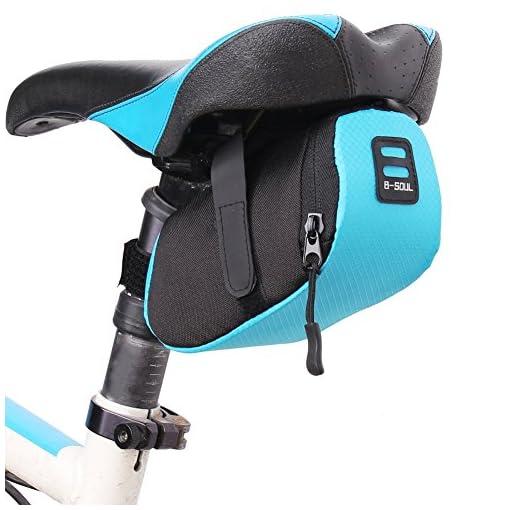 Leezo sella della bici, leggero mountain bicicletta della sella sella Carrier bag–nero & rosso & blu