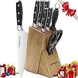 Emojoy Ensemble de 8 Couteaux de Cuisine avec Bloc en Bois, Lot de Couteaux, Couteaux de Chef, Allemagne Stainless Steel en Bois Pakka