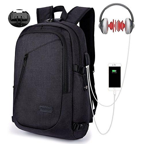 WinCret 15,6 Zoll Diebstahlschutz Laptop Rucksack - Anti-Diebstahl Lock Studenten Backpack mit USB Kabel und Anschluss für Damen Herren – Laptop Computer Multifunktionsrucksack