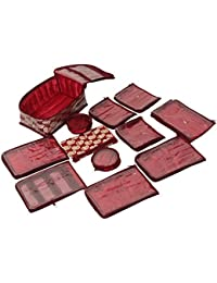 Kuber Industries Brocade Jewellery Organizer with 12 Pouches, Maroon