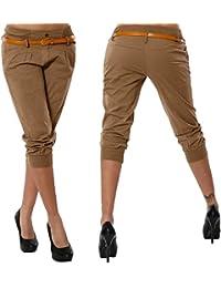 ORANDESIGNE Femme Eté Shorts Mode Pantalons Courts 3 4 Sarouel Pantalons  Confortable Chino Short Grande e35ec112656