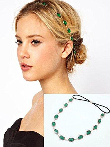 Yean accessori per capelli catena testa stile Bohemien per donne e ragazze (verde)