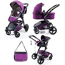 Trio completo: passeggino, navicella, ovetto e borsa coordinati in tre colori - per bambini dalla nascita