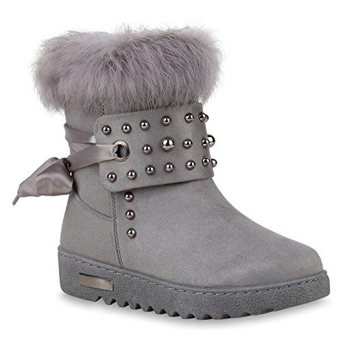 Warm Gefütterte Damen Schuhe Stiefeletten Wedges Winterboots Nieten 147406 Grau Camiri 39 Flandell