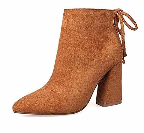 THk&M Frauen kurze Stiefel 2017 High Heels 9,5 cm Ankle Boots Schuhe MotorcycleWinter Fersen, Hellbraun, 5.