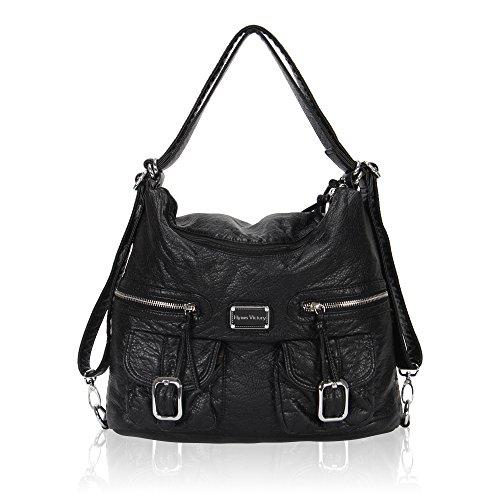 veevan-womens-ultra-soft-leatherette-dual-purpose-backpack-handbags-black
