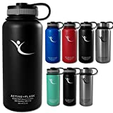 BeMaxx Fitness ACTIVE FLASK Water Bottle - Includes 3 Drink Caps - Vacuum-insulated Stainless Steel Thermos Flask for the Office, Sports, Outdoors, Tea, Coffee and more - BPA free - 0.5/1L - 950ml