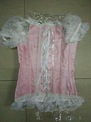 Corsagentop Damen Vollbrust Corsage Top mit Ärmel Taillen Korsett Bustier Corset Dirndl Bluse Trachten Shirt Rosa