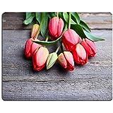 Luxlady caucho Natural Gaming Mousepads Vintage de madera con tulipanes Imagen ID 27573135