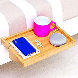 BedShelfie - Estante de noche de bambú moderno / ahorro de espacio, mesilla de noche flotante ajustable para habitaciones pequeñas, literas de loft y dormitorios contemporáneos (Natural)