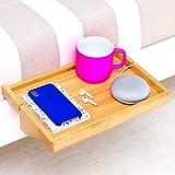 BedShelfie - 3 Couleurs | Table de Chevet Moderne en Bambou | Table de nuit / Etagère suspendue l La Table De Nuit pour les Petites Chambres, les Lits Superposés, les Loft et les Dortoirs Contemporains (En Naturel)