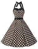 Dressystar DS1957 Robe de bal Polka Vintage pin-up à 'Audrey Hepburn' 50's 60's Rockabilly Halter,dos nu, Café à pois blanc L...