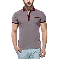 Tinted Men's Solid Slim fit T-Shirt (TJ504-MAROON-M_Maroon_Medium)