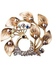 Damen Brosche Tulpe Strass Dekor Blume Anstecknadel NEU