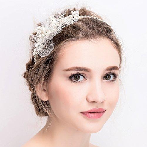 Vintage Elfenbein Tüll Bridal Tiara Strass Perlen Haarreif Hochzeit Prom Haarschmuck - 2