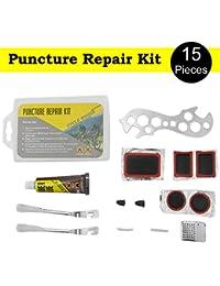Kit de reparación de pinchazos para bicicleta, de 15 piezas, de emergencia–para todo tipo de neumáticos