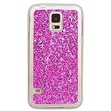 Pheant® Samsung Galaxy S5 Mini Hülle Glitzer Silikon Schutzhülle Transparent Bumper Handyhülle Glänzend Pailletten Design Rosa