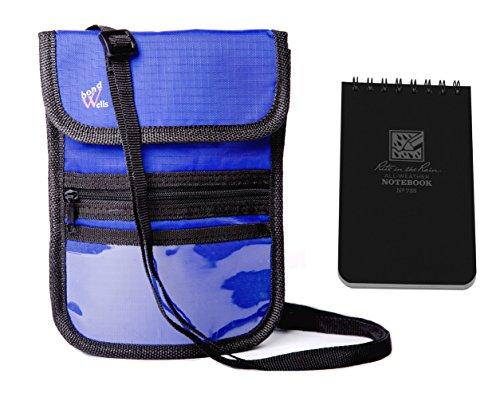 Wellsbond Reisepasshülle mit RFID-Schutz, 10 Taschen, Schwarz - Hals Rfid-reise-geldbörse