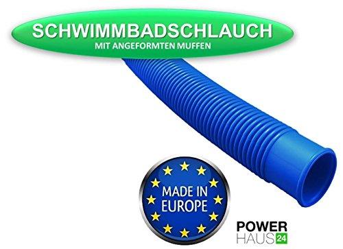 """6,00m Schwimmbadschlauch 38mm (6/4\"""") blauer Schlauch für Schwimmbad Schwimmbecken Pool Gartenpool Poolschlauch"""