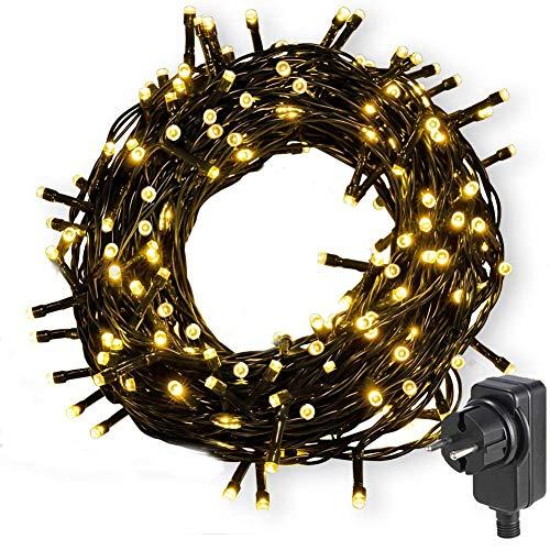 Nurkoo Led Lichterkette Strom 30M 300 LED Lichterkette Steckdose IP65 Wasserdicht für Innen und Außen, 8 Modi Dimmbar,Niederspannung, Warmweiß Lichterkette für Party, Weihnachten, Garten
