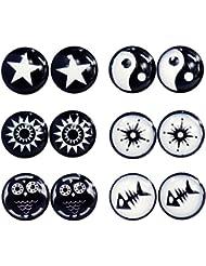 Pendientes circulares, clip de imán sin perforación, 6 pares, color negro y blanco, 8 mm, acero inoxidable, unisex