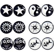 Pendientes circulares, clip de imán sin perforación, 6 pares, color negro y blanco