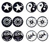 6Paar Schwarz Weiß 8mm Kreis Fake Cheater Plug Magnet Clip nicht Piercing Edelstahl Ohrringe