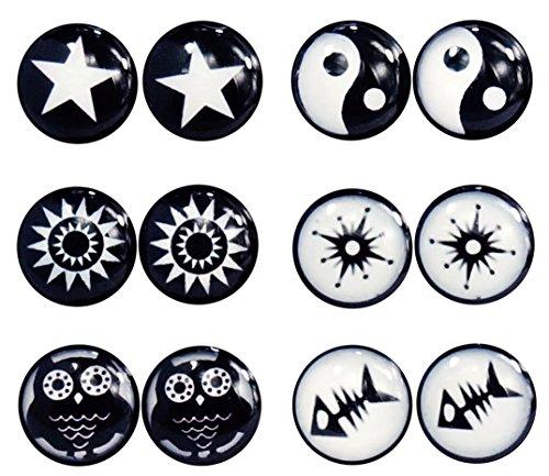 Lilments Lot de 6paires de piercings en acier inoxydable Noir/blanc 8mm Cheater Plugs