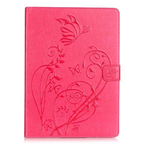 Cozy Hut TPU Silikon Hülle (smartcoverkompatibel) für Apple iPad Air,iPad 5 (5.Generation) in Schmetterlings-Blumen - Tablet Schutzhülle Cover klar - Rose Red