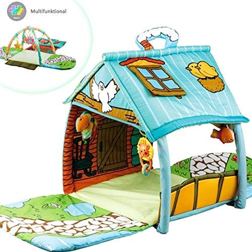 3 in 1 XXL Krabbeldecke mit Spielbogen/Spielhaus für kleine Kinder/Babies/Krabbelspaß/Gymcenter