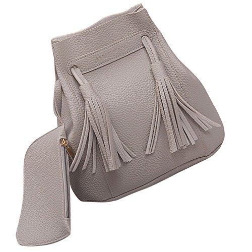 Longra Donna Sacchetto doppio del sacchetto del sacchetto di spalla Jiangsu di modo Grigio