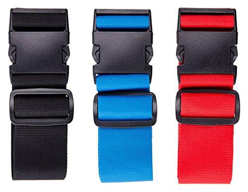 Karteo® Kofferband hellblau | 5 cm geflochtenes Polyester | Koffergurt | Gepäckgurt | Gepäckband | Gepäckgurte anpassbar | 80 -155 cm verstellbar | Travel Accessor luggage strap (Id Strap Luggage)