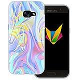 Mobilefox Liquid transparente Silikon TPU Schutzhülle 0,7mm dünne Handy Soft Case für Samsung Galaxy A3 (2017) Liquid Lila - Verlauf Hülle Cover Gel