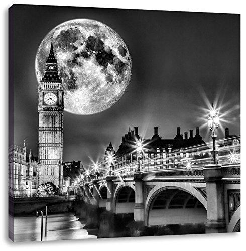 Monocrome, Big Ben vor großen Mond in London, Format: 40x40 auf Leinwand, XXL riesige Bilder fertig gerahmt mit Keilrahmen, Kunstdruck auf Wandbild mit Rahmen, günstiger als Gemälde oder Ölbild, kein Poster oder Plakat (Mond Dem Auf Kirche)