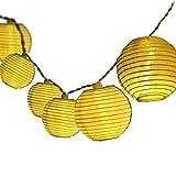 Lanterna a energia solare, impermeabile, 5 m, 20 LED a luce bianca calda, per feste, terrazze, cortili, casa, outdoor, feste, ecc. Warmes Gelb