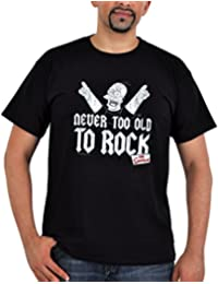 Simpsons - Homer Never Too Old To Rock T-shirt - Quality Men's Tee - Black