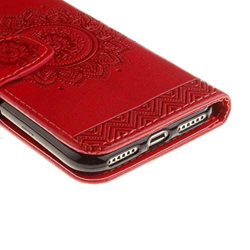 Coque pour Apple iPhone 7 4.7 Housse en cuir pour,Ecoway Fleurs de Datura en relief étui en cuir PU Cuir Flip Magnétique Portefeuille Etui Housse de Protection Coque Étui Case Cover avec Stand Support rouge