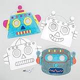 """Masken Zum Ausmalen """"Roboter"""" für Kinder Zum Basteln und Dekorieren – Bastelset für Kinder (6 Stück)"""