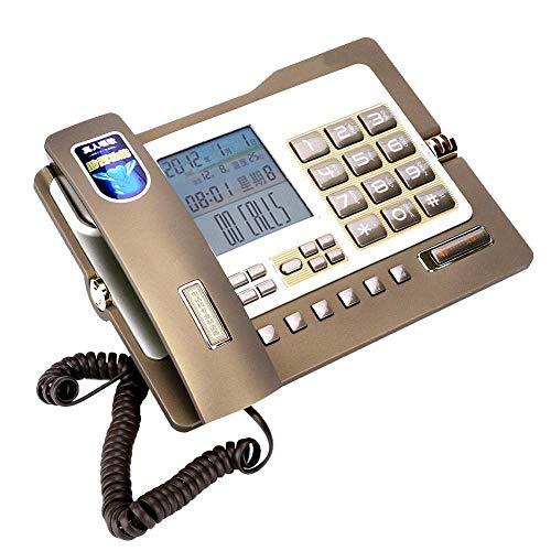 Tangxi Schnurgebundenes Telefon G026, Telefon für Privatgebrauch/Büro,Festnetztelefon mit Freisprecheinrichtung, Anruferkennung, Kurzwahl, Nummernspeicherfunktion(Gold) Paging-adapter