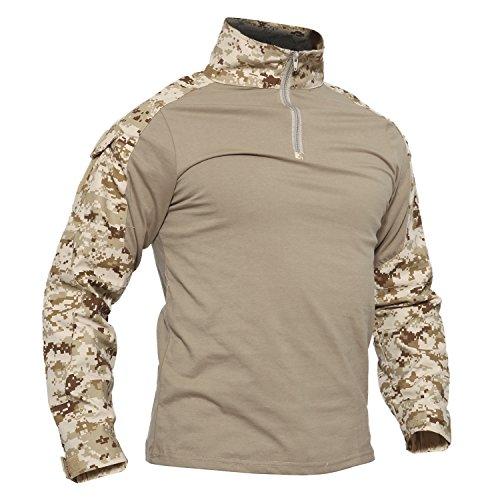 Desert Camo Stoff (TACVASEN Armee T-Shirt Herren Lange Ärmel Baumwolle T Shirt Outdoor Cotton Shirt Camo)