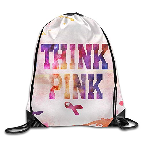 Gorgeous ornaments Think Pink Breast Cancer Awareness with Ribbon Unisex Drawstring Backpack Travel Sports Bag Drawstring Beam Port Backpack.