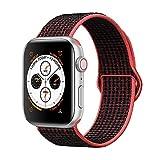 Corki pour Bracelet Apple Watch 38mm 40mm, Nylon Bracelet de Remplacement Bande pour Apple Watch iWatch Séries 4 (40mm), Séries 3/ Séries 2/ Séries 1 (38mm), Cramoisi Brillant/Noir