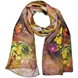 Wrapables Luxurious 100% Charmeuse Silk Floral Painting Long Scarf With Hand Rolled Edges - B00MC347J8