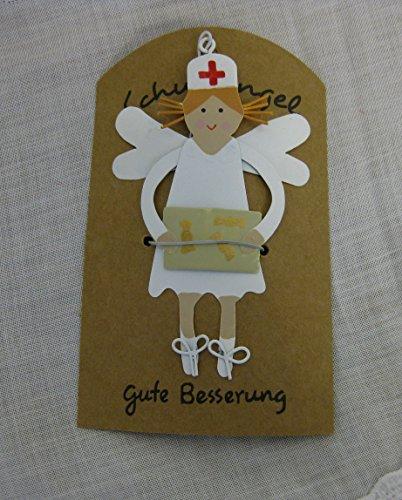 Anhänger Schutzengel für Kranke mit Geschenk Wünsche gute Besserung Metall Deko Geschenkanhänger Glücksbringer krank Engel Krankenschwester Ärztin